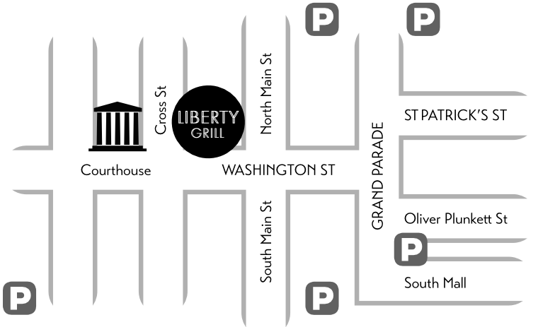 monochrome map showing location of liberty grill washington street cork city ireland